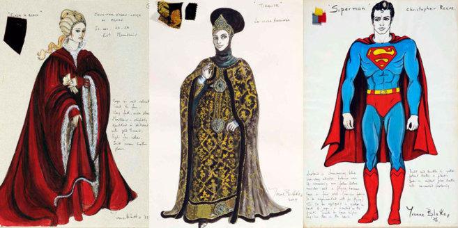 Diversos bocetos de vestuario de cine de Yvonne Blake.
